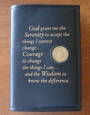 Alcoholics Anonymous AA Big Book Serenity Prayer Coin Chip Holder Black Cover