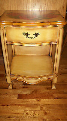 Mid Century Modern Hollywood Regency French Provincial Nightstand Hand Painted