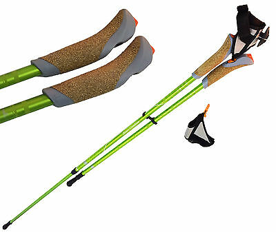 2 x HIKING TREKKING LIGHTWEIGHT POLES with DETACHABLE HAND GLOVES  for comfort