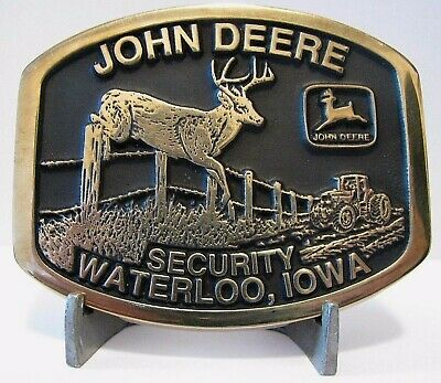 John Deere SECURITY Buck Tractor 1996 Belt Buckle Waterloo 4th of 8    s/n 46/50