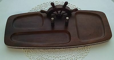 Vintage Nautical Walnut And Brass Mens Coin Tray