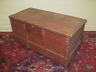 Important Pilgrim Century Blanket Chest With Candle Till & Hidden Safe-Red Paint