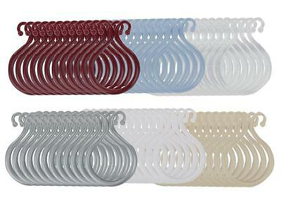 Double Shower Curtain Hooks Set of 12 Plastic - Choice of Colors