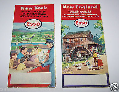 2 Vintage Esso Oil Advertising Maps New York & New England