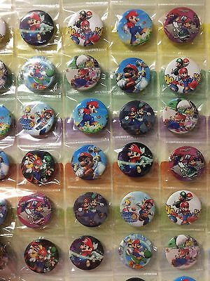 6pcs Mario 30mm Plastic Cartoon Badge Brooch Pin Birthday Party Lolly Bag Gift