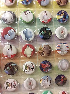 6pcs Big Hero 6 30mm Plastic Badge Brooch Pin Birthday Party Lolly Bag Gift