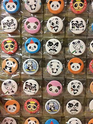 6pcs Panda 30mm Plastic Badge Brooch Pin Birthday Party Lolly Bag Gift