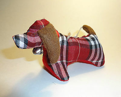 Cute Dachshund Non Breakable FabricTree Decoration with festive bell on collar