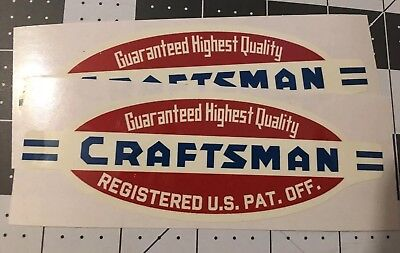 """Craftsman Tools vintage style 40's decal 5-1/8"""" for tool box 2for1"""