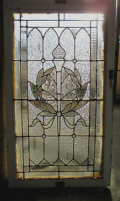 ~ Antique American Stained Glass Window ~ 24 X 41 ~ Wreath And Torch ~ Salvage ~