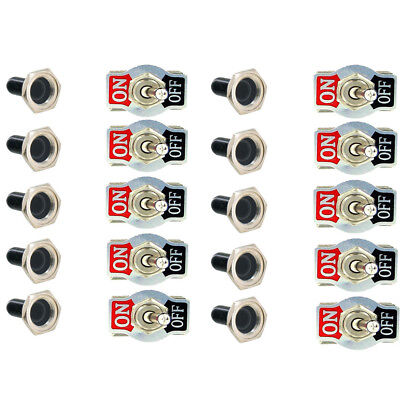 10 X Heavy Duty 20A 125V SPST 2 Terminal ON/OFF Toggle Switch Waterproof Boot HS