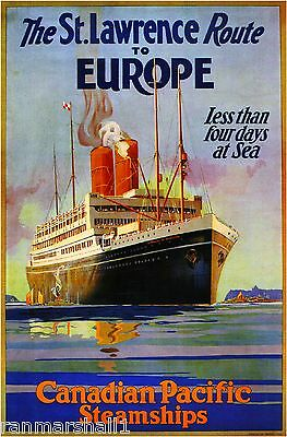 St. Lawrence Route to Europe Cruise Canada Canadian Travel Advertisement Poster
