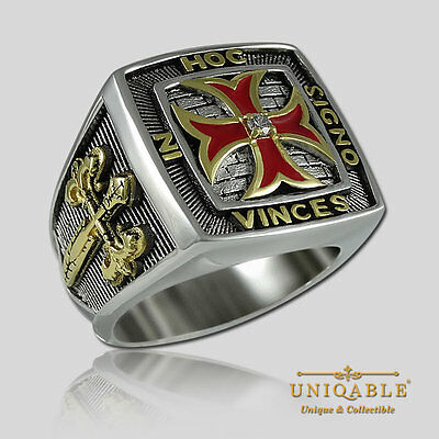 Knights Templar Sterling Silver Masonic Freemason Ring Gold Plated by UNIQABLE