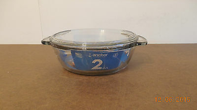 "Anchor Hocking 9 1/2"" Clear Glass 2 Qt. Casserole Pan With Lid New"