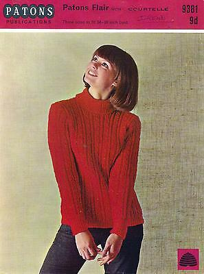 Vintage Knitting Pattern Patons 9381 Lady's Sweater Polo Neck Cables 1960S 34-38