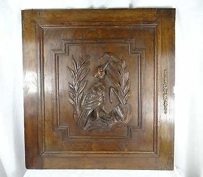 Antique French Door Panel Hand Carved Oak Wood - Hunting Pheasant N°2