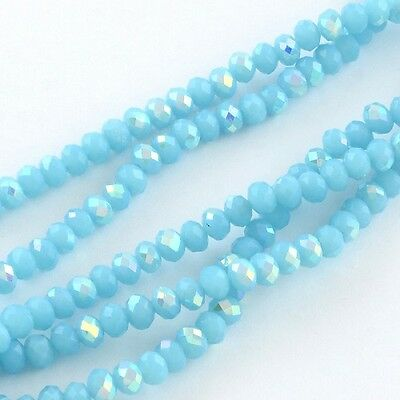100 pcs RONDELLE FACETED GLASS CRYSTAL BEADS 6 mm Sky Blue AB