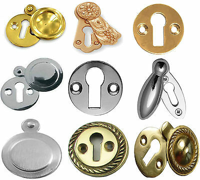 GEORGIAN STYLE SOLID COVER BRASS/CHROME COVERED Door KEYHOLE ESCUTCHEON COVER.