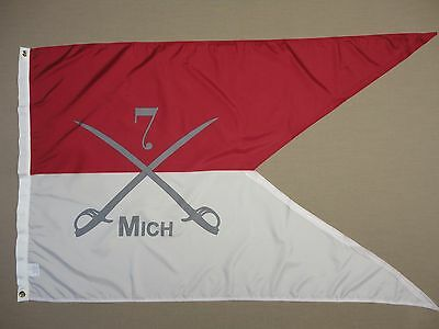 7th Michigan Cavalry Guidon Indoor Outdoor Historical Dyed Nylon Flag 3'x5'