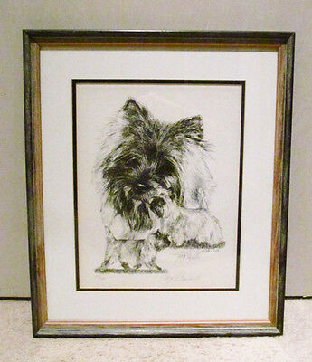 Lyn St. Clair Stubbs 1985 Signed Numbered Framed Cairn Terrier Dog Artwork