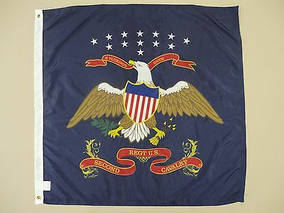2nd United States U.S. Cavalry Indoor Outdoor Historical Dyed Nylon Flag 3' X 3'