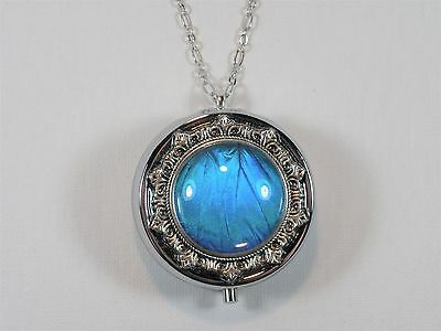 Blue Morpho Butterfly Wing Music Box Locket Pendant Necklace