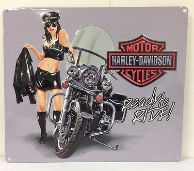 Ande Rooney HARLEY DAVIDSON JACKET BABE Ready to Ride Tin Motorcycle Sign New