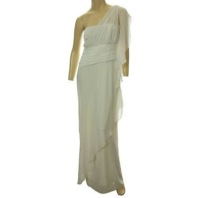Ralph Lauren 6 White One Shoulder Gathered Full Length Formal Gown Dress NWT F/S
