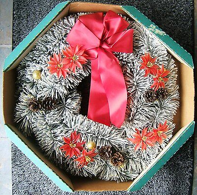 Vintage Christmas Frosted Bottle Brush 18 Inch Wreath Red Bow Poinsettias & Box