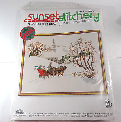 """Vintage 1979 Sunset Stitchery """"Sleigh Ride in the Snow"""" Holiday needlepoint 2085"""
