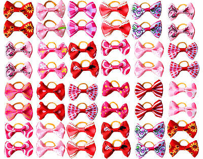 100pcs/50pair Dog Hair Bows Rose Red Pink girl Dog Topknot  Pet Grooming Product