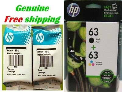 Genuine HP 63 Ink Cartridge Combo-Bk/CL-for HP4520 3830 3833 Printer-not 5255