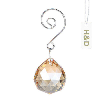 3 Champagne Hanging Rainbow Crystal Suncatcher Ball Prism Feng Shui Pendant 30mm