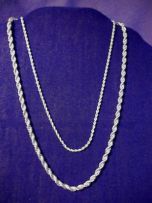 """Sterling Silver  2 mm or 4 mm TWISTED ROPE necklace. 24"""" -28""""s Gift boxed."""