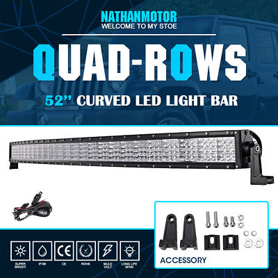 """CURVED 52"""" 3600W Quad Rows PHILIPS Spot&Flood LED Work Light Bar Offroad Pickup"""