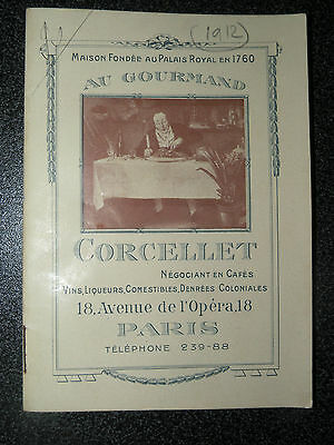 Tarif 1912 Cafe Corcelet Paris Cafe , Thes , Vins , Champagnes ,...
