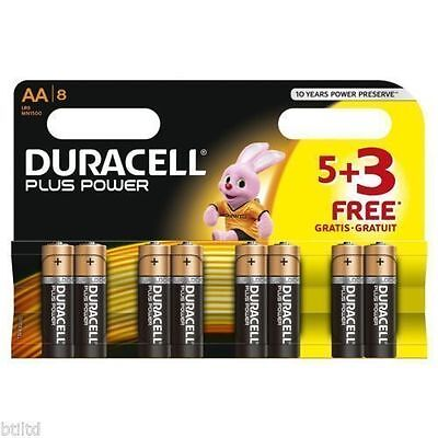 8 Pack 5 + 3 Free Duracell Aa Plus Alakaline Batteries