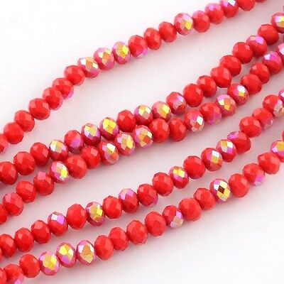 100pcs RONDELLE FACETED GLASS CRYSTAL BEADS Red AB 6mm