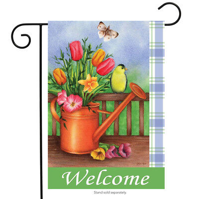 "Welcome Spring Garden Flag Watering Can Flowers 12.5"" x 18"""