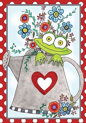 "Froggie Fun Spring House Flag Watering Can Floral 28"" x 40"""