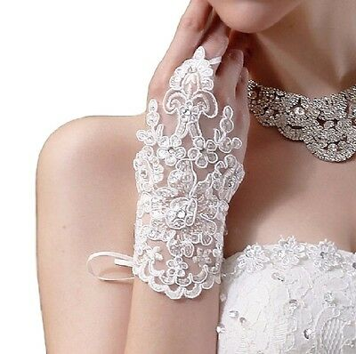 Women's Ladies Bridal Wedding Lace Fingerless Gloves Evening Party Stage Gloves