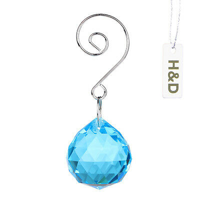 3 Maker Hanging Natural Sapphire Suncatcher Crystal Ball Prism Drop Pendant 30mm