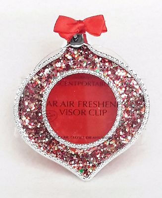 Bath & Body Works Scentportable Holder RED GLITTER ORNAMENT Unit Car Visor Clip