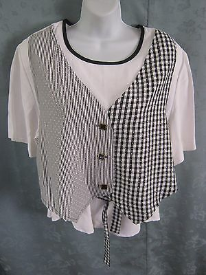 Vintage Ann Hill Petites Top Size Large PL Faux Vest Layered Look B&W Collarless