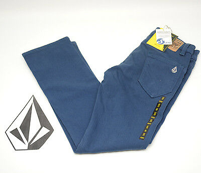 NEW VOLCOM BOYS YOUTH KIDS RISER TAPERED FIT S Gene Pants Colored Jeans Blue NWT