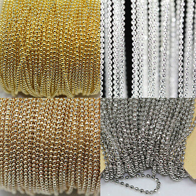 Hot Sale Tone Metal Ball Round Chain For Necklace Jewelry Makings 1MM DIY 5M
