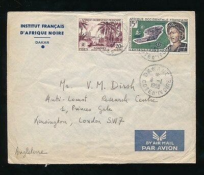 FRENCH WEST AFRICA 1959 DANANE to GB...INSTITUTE AIRMAIL ENVELOPE SENEGAL