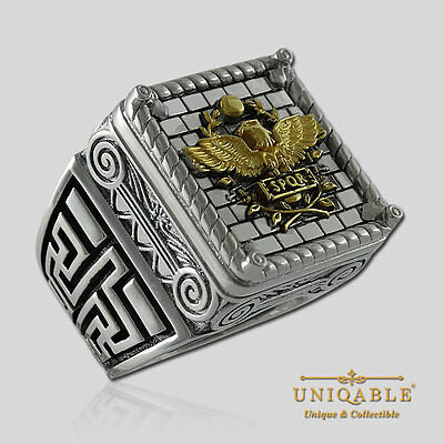 Roman Empire SPQR Sterling Silver Ring Imperial Eagle .925 Gold Pld by UNIQABLE