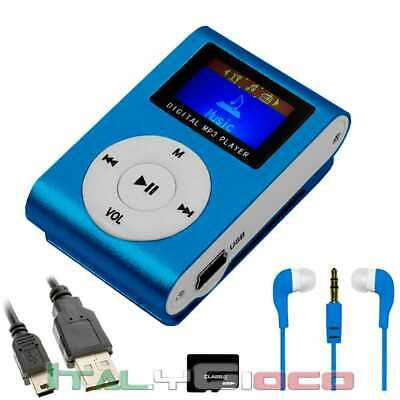Mini Lettore MP3 con Radio FM Nero Blu + Cavo Mini USB + Micro SD 8GB + Cuffia