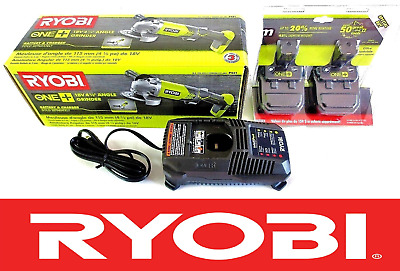 NEW RYOBI ONE + 18v VOLT ANGLE GRINDER P421 2 NEW BATTERIES P102 & CHARGER  P118